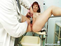 Old Zita mature pussy speculum examination at bizzare gyno clinic