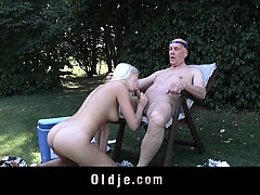 Horny Blonde Fucks A Stranger Old Merchant