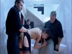 Brunette Rita Neri sucks and gets ass fucked in while others watch