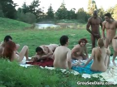 Amazing Outdoor Group Sex By Large Group Part2
