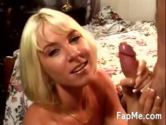 Blonde Gets A Load Of Cum On Her Face