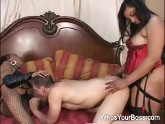 Two Black Femdoms Taking Care Of A Horny Guy