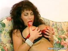 Mega Boobed Mature Brunette Slut Gets Part2