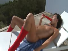 Huge Red Dildo In Shaved Girly Pussy