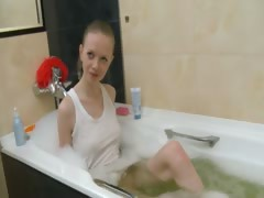 Russian super bony girl in the shower