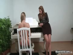 Awesome brunette teacher spanks her part3